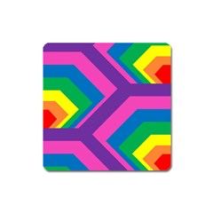 Geometric Rainbow Spectrum Colors Square Magnet