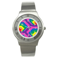 Geometric Rainbow Spectrum Colors Stainless Steel Watch