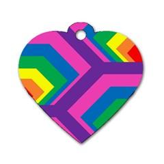 Geometric Rainbow Spectrum Colors Dog Tag Heart (one Side)
