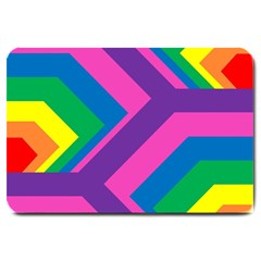Geometric Rainbow Spectrum Colors Large Doormat