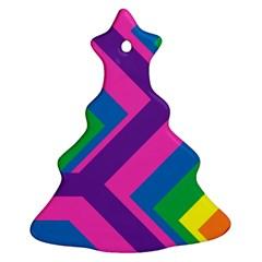 Geometric Rainbow Spectrum Colors Ornament (christmas Tree)