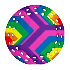 Geometric Rainbow Spectrum Colors Round Filigree Ornament (two Sides)