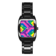 Geometric Rainbow Spectrum Colors Stainless Steel Barrel Watch