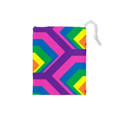 Geometric Rainbow Spectrum Colors Drawstring Pouches (small)