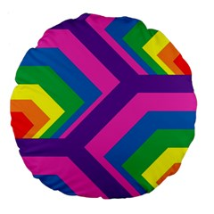 Geometric Rainbow Spectrum Colors Large 18  Premium Flano Round Cushions