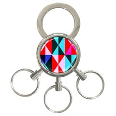 Geometric Pattern Design Angles 3 Ring Key Chains