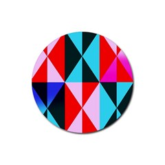 Geometric Pattern Design Angles Rubber Coaster (round)