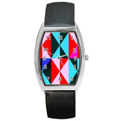 Geometric Pattern Design Angles Barrel Style Metal Watch