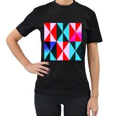 Geometric Pattern Design Angles Women s T Shirt (black) (two Sided)