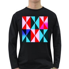 Geometric Pattern Design Angles Long Sleeve Dark T Shirts