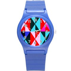 Geometric Pattern Design Angles Round Plastic Sport Watch (s)
