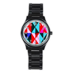 Geometric Pattern Design Angles Stainless Steel Round Watch