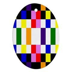 Rainbow Color Blocks Red Orange Ornament (oval)