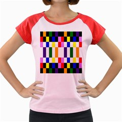 Rainbow Color Blocks Red Orange Women s Cap Sleeve T Shirt
