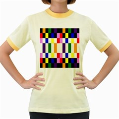Rainbow Color Blocks Red Orange Women s Fitted Ringer T Shirts