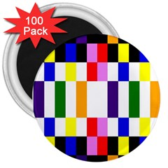 Rainbow Color Blocks Red Orange 3  Magnets (100 Pack)
