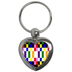 Rainbow Color Blocks Red Orange Key Chains (heart)