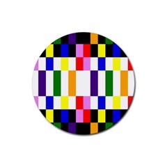 Rainbow Color Blocks Red Orange Rubber Coaster (round)