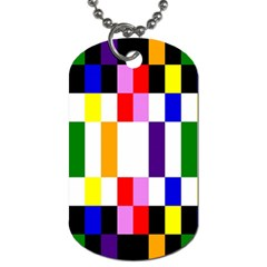 Rainbow Color Blocks Red Orange Dog Tag (two Sides) by Nexatart