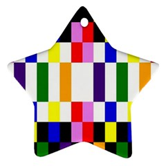 Rainbow Color Blocks Red Orange Star Ornament (two Sides)