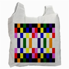 Rainbow Color Blocks Red Orange Recycle Bag (two Side)
