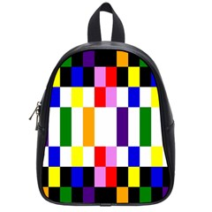 Rainbow Color Blocks Red Orange School Bag (small) by Nexatart