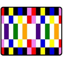 Rainbow Color Blocks Red Orange Fleece Blanket (medium)  by Nexatart