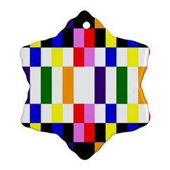 Rainbow Color Blocks Red Orange Ornament (snowflake)