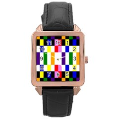 Rainbow Color Blocks Red Orange Rose Gold Leather Watch