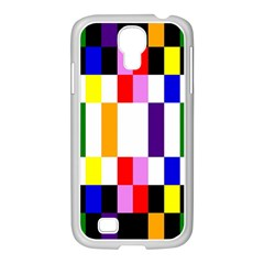 Rainbow Color Blocks Red Orange Samsung Galaxy S4 I9500/ I9505 Case (white)
