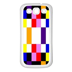 Rainbow Color Blocks Red Orange Samsung Galaxy S3 Back Case (white)