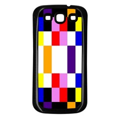 Rainbow Color Blocks Red Orange Samsung Galaxy S3 Back Case (black)