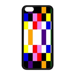 Rainbow Color Blocks Red Orange Apple Iphone 5c Seamless Case (black) by Nexatart