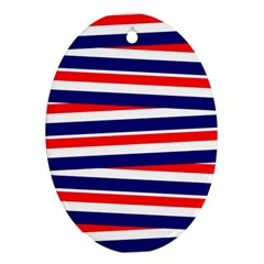 Red White Blue Patriotic Ribbons Ornament (oval)