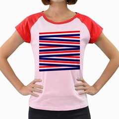 Red White Blue Patriotic Ribbons Women s Cap Sleeve T Shirt