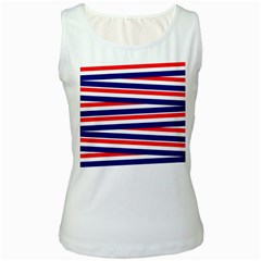 Red White Blue Patriotic Ribbons Women s White Tank Top