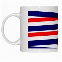 Red White Blue Patriotic Ribbons White Mugs