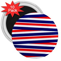 Red White Blue Patriotic Ribbons 3  Magnets (10 Pack)
