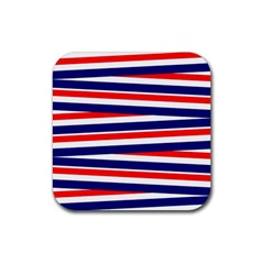 Red White Blue Patriotic Ribbons Rubber Coaster (square)
