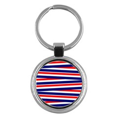 Red White Blue Patriotic Ribbons Key Chains (round)