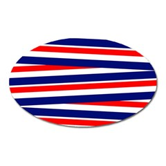 Red White Blue Patriotic Ribbons Oval Magnet by Nexatart