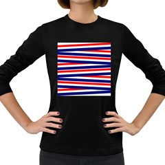Red White Blue Patriotic Ribbons Women s Long Sleeve Dark T Shirts