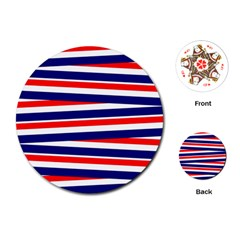 Red White Blue Patriotic Ribbons Playing Cards (round)
