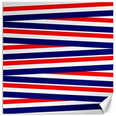 Red White Blue Patriotic Ribbons Canvas 12  X 12   by Nexatart