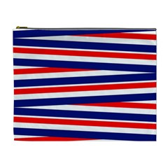 Red White Blue Patriotic Ribbons Cosmetic Bag (xl)