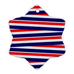 Red White Blue Patriotic Ribbons Snowflake Ornament (two Sides)