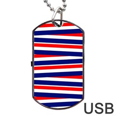 Red White Blue Patriotic Ribbons Dog Tag Usb Flash (two Sides) by Nexatart