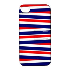 Red White Blue Patriotic Ribbons Apple Iphone 4/4s Hardshell Case With Stand