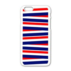 Red White Blue Patriotic Ribbons Apple Iphone 6/6s White Enamel Case by Nexatart