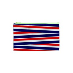 Red White Blue Patriotic Ribbons Cosmetic Bag (xs)